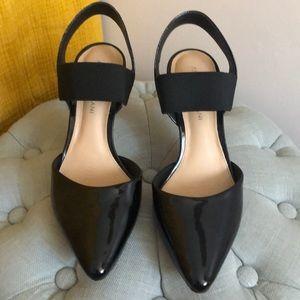 Antonio Melani Black Patent Leather Slingbacks